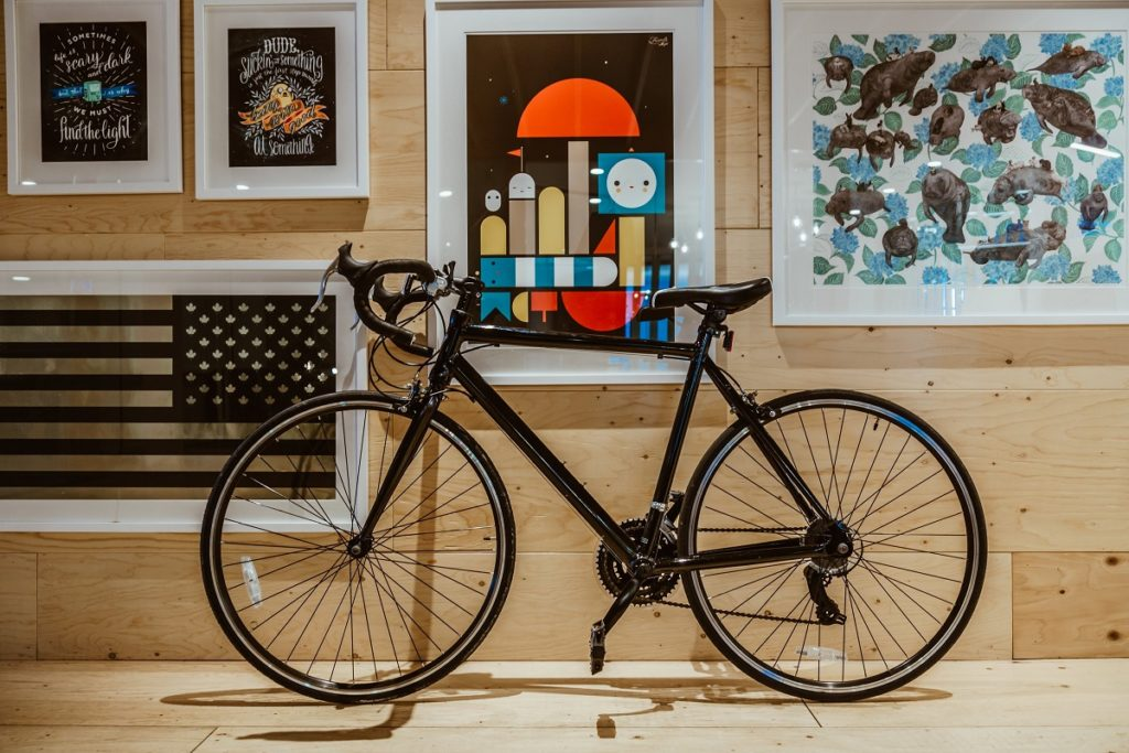 bike with framed painting in the background