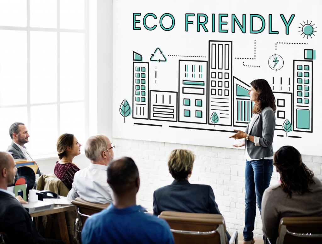 eco friendly on whiteboard