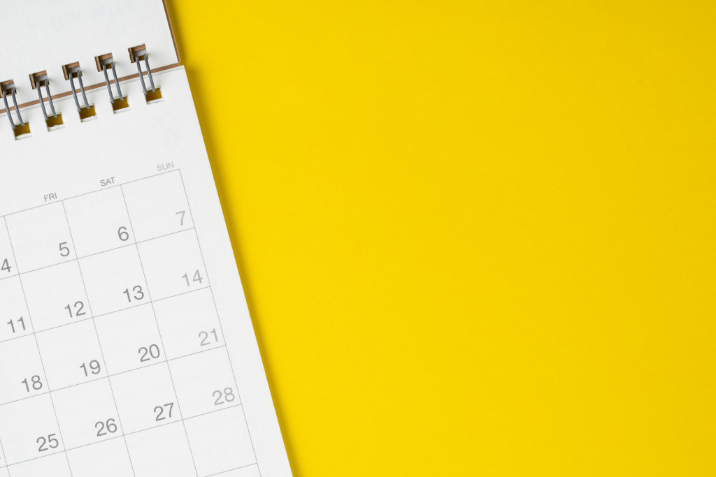 calendar on a yellow background